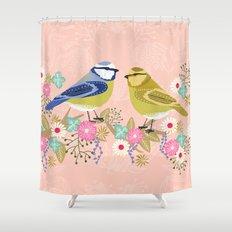 Love Birds valentines day birding illustration florals spring love by Andrea Lauren  Shower Curtain