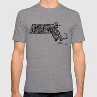 Typographic Massachusett… Mens Fitted Tee Athletic Grey SMALL