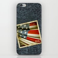 Grunge sticker of United States flag iPhone & iPod Skin
