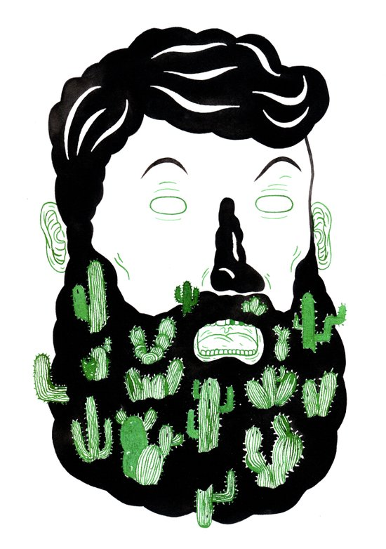 Cactus Beard Dude Canvas Print