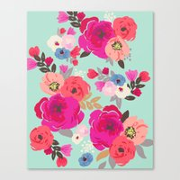 Sweet Pea Floral Aqua Mu… Canvas Print
