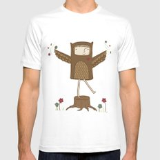 Little Owl Girl Mens Fitted Tee White SMALL
