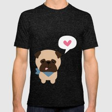 Pancho the Pug Mens Fitted Tee Tri-Black SMALL