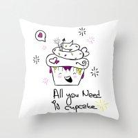 Happy Cupcake Throw Pillow