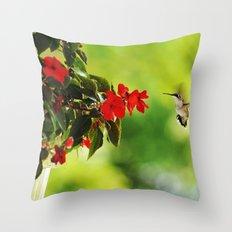Hummingbird at the Flowers Throw Pillow