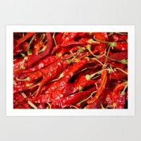 Red Chilies Drying Kathmandu Art Print