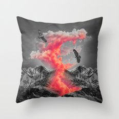Burn Brighter In the Dark (Volcanic Clouds II) Throw Pillow