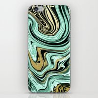 MARBELLOUS IN MINT AND GOLD iPhone & iPod Skin