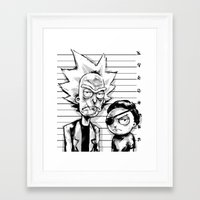 Framed Art Print featuring Rick and Morty by Suarez Art