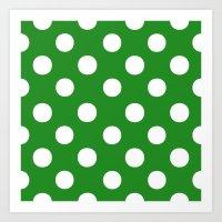 Polka Dots (White/Forest Green) Art Print