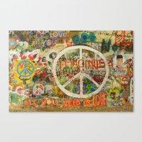 Peace Sign - Love - Graf… Canvas Print