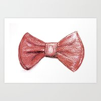 Red Bowtie Drawing Art Print