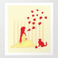 Bubbly Hearts Art Print