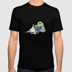 Hipster Dinosaur adds the latest chapters to his novel SMALL Mens Fitted Tee Black