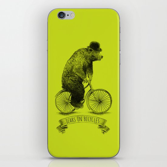 Bears on Bicycles (Lime) iPhone & iPod Skin