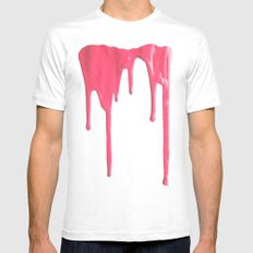 Pink Splatter SMALL White Mens Fitted Tee