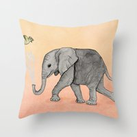 Elephant and the Bird Throw Pillow