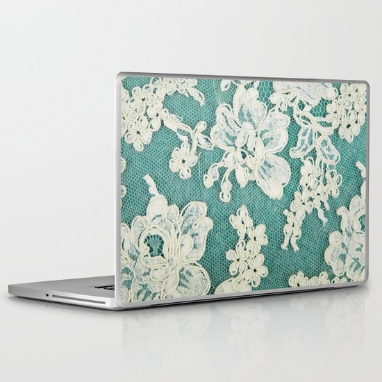 white lace - photo of vintage white lace Laptop & iPad Skin