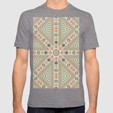 Abstract Currency Collage Mens Fitted Tee Tri-Grey SMALL