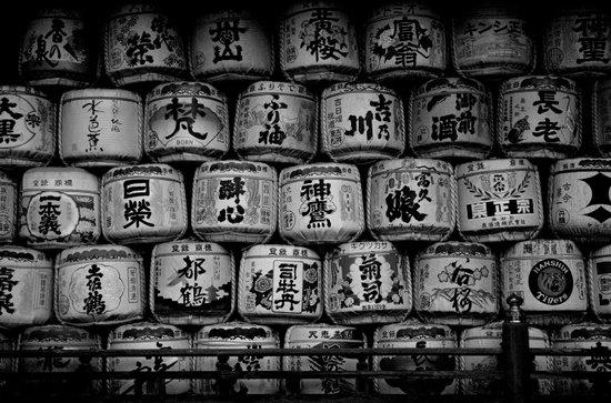 Sake Casks at Shrine, Kyoto Art Print