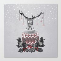 CHRISTMAS DEER (by Nika & Mariam) Canvas Print