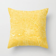raleigh map yellow Throw Pillow