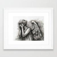 Weeping Angel Watercolor… Framed Art Print