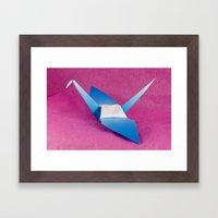 Blue Origami Crane Framed Art Print