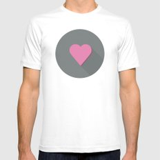 Flat heart SMALL White Mens Fitted Tee