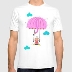 one of the many uses of a flamingo - parachute SMALL White Mens Fitted Tee