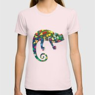Animal Mosaic - The Cham… Womens Fitted Tee Light Pink SMALL