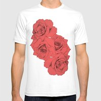 Tattoo Rose | Floral  Mens Fitted Tee White SMALL
