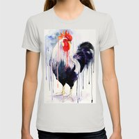 Rooster  Womens Fitted Tee Silver SMALL