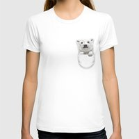 POCKET POLAR BEAR Womens Fitted Tee White SMALL