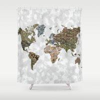 CAMO WORLD ATLAS MAP (WHITE) Shower Curtain