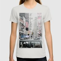 NEW YORK 2 Womens Fitted Tee Silver SMALL