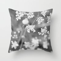 Queen Anne's Lace Wildflowers Throw Pillow