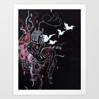 Red Tendrils And White B… Art Print