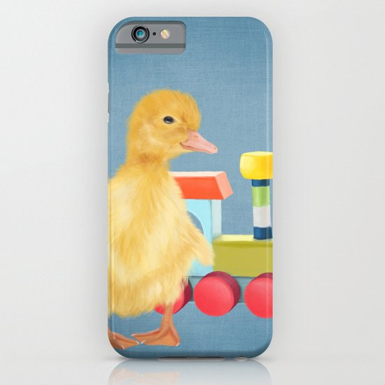 A duckling with a wood colored toy on a light blue background iPhone & iPod Case