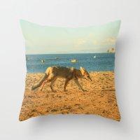 Fox on the beach Throw Pillow