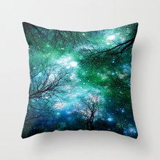 Black Trees Teal Green Space Throw Pillow