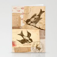 Bird Collage  Stationery Cards
