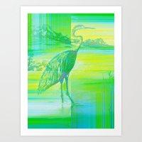 Neon Great White Egret  Art Print