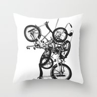 Bike Chaos Throw Pillow