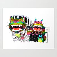 Totoro fan art (cat bus) by Luna Portnoi Art Print