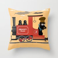 Groovy train Throw Pillow