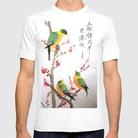 green bird chatting Mens Fitted Tee White SMALL