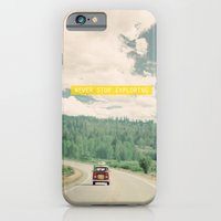 quote iPhone & iPod Cases featuring NEVER STOP EXPLORING - vintage volkswagen van by Leslee Mitchell