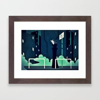 The First Bus Stop Framed Art Print