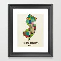 New Jersey State Map Mod… Framed Art Print